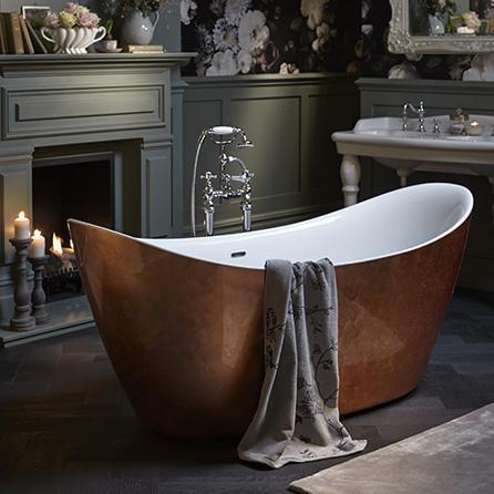 Heritage Hylton Metallic Effect Acrylic Bath Copper